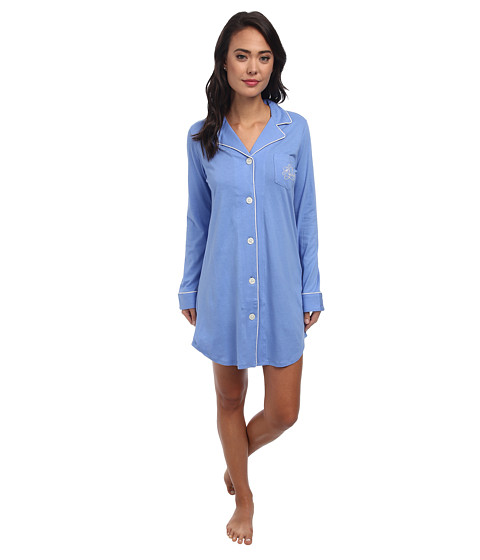 LAUREN by Ralph Lauren - Hammond Knits Sleepshirt (Gable Blue Medbl) Women