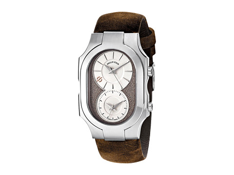 Philip Stein - Large Swiss Signature Watch with Beige Dial on Brown Assolutamente Strap (Brown) Watches