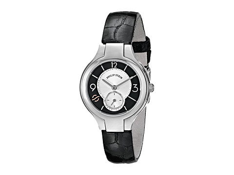 Philip Stein - Mini Round Watch with White MOP and Black Dial on Black Alligator Strap (Black) Watches