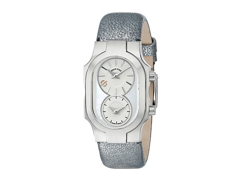 Philip Stein - Small Swiss Signature Watch with MOP Dial on Gunmetal Shimmering Calf Strap (Gunmetal) Watches