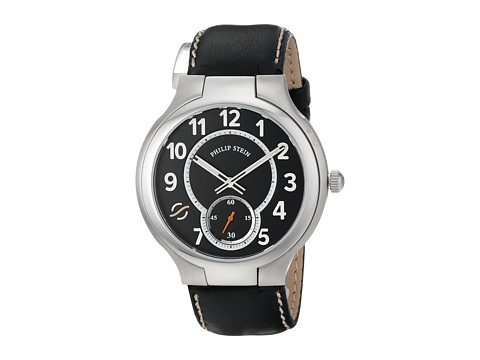 Philip Stein - Large Round Watch with Black Dial on Black Stitched Calf Strap (Black) Watches