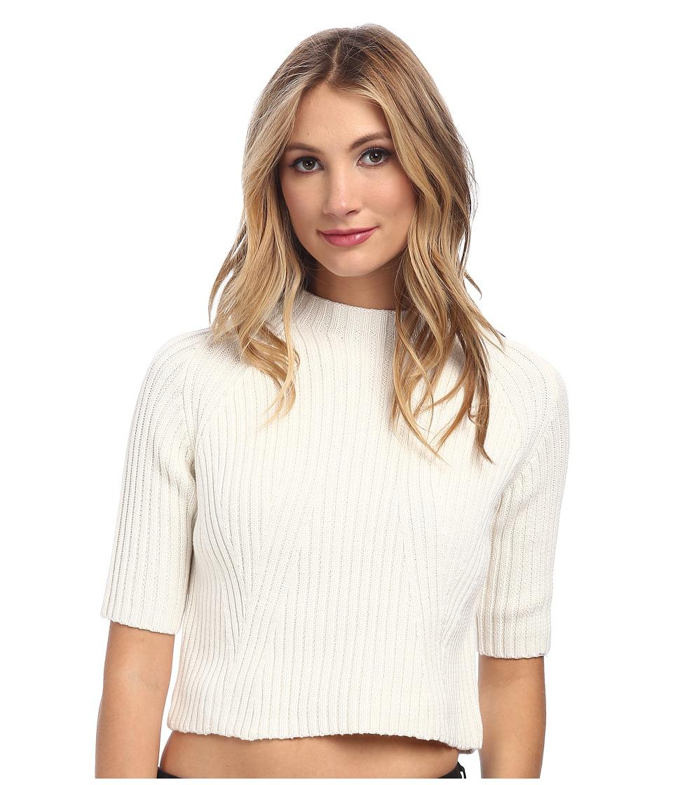 StyleStalker - Fraction Crop Sweater (White) Women's Sweater