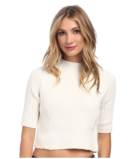 StyleStalker - Fraction Crop Sweater (White) Women's Sweater