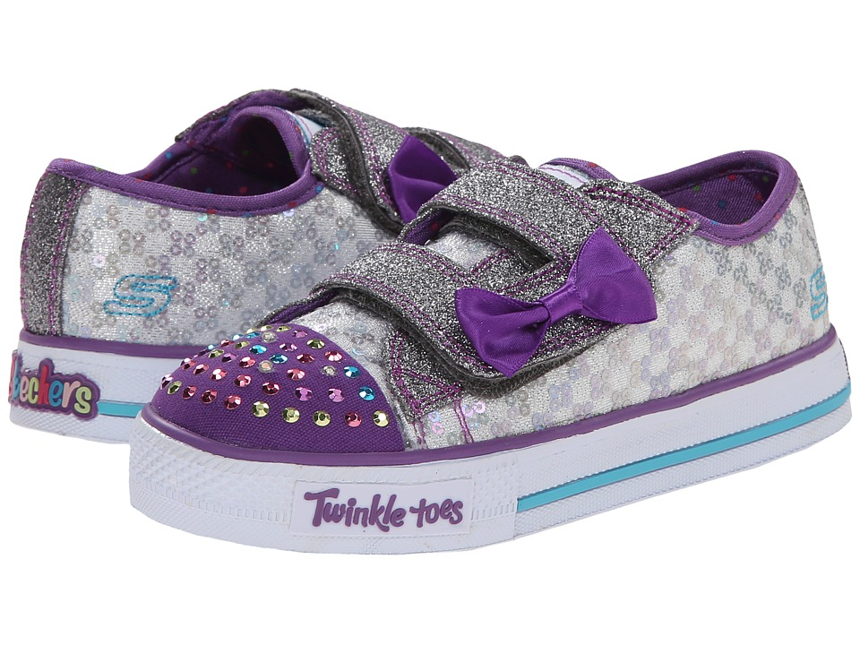 SKECHERS KIDS - Shuffles - Sweet Step Lights 10284N (Toddler/Little Kid) (Gunmetal/Purple/Multi) Girls Shoes