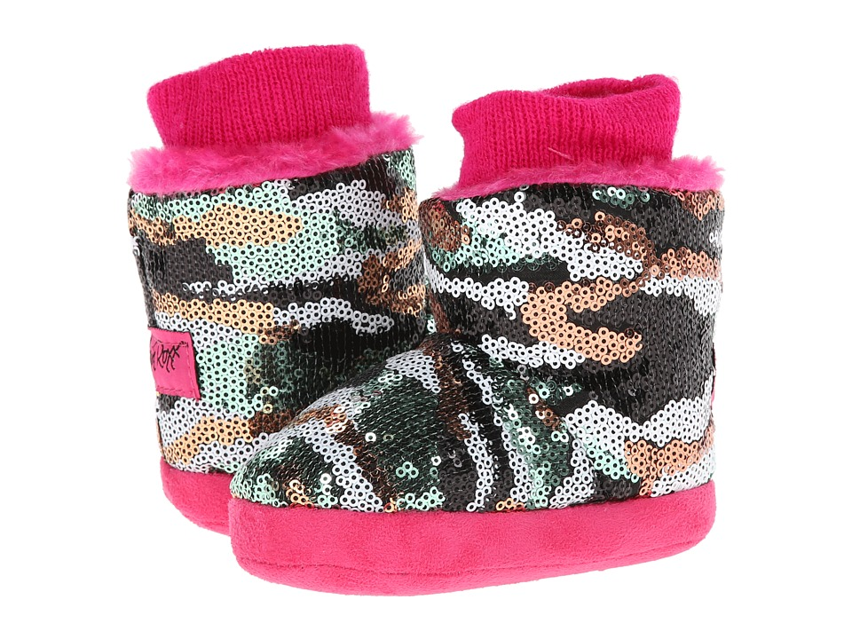 M&F Western - Camo Sequin Bootie Slippers (Infant/Toddler) (Hot Pink) Women's Slippers