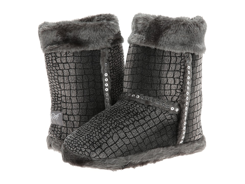 M&F Western - Plush Heart Sequin Bootie Slippers (Toddler/Little Kid/Big Kid) (Grey) Women's Slippers
