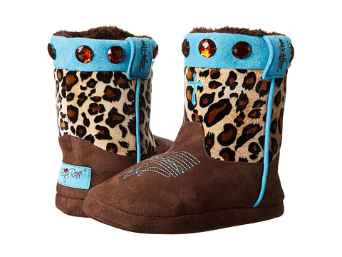 M&F Western - Animal Print w/ Cross Bootie Slippers (Toddler/Little Kid/Big Kid) (Leopard/Brown/Blue) Women's Slippers