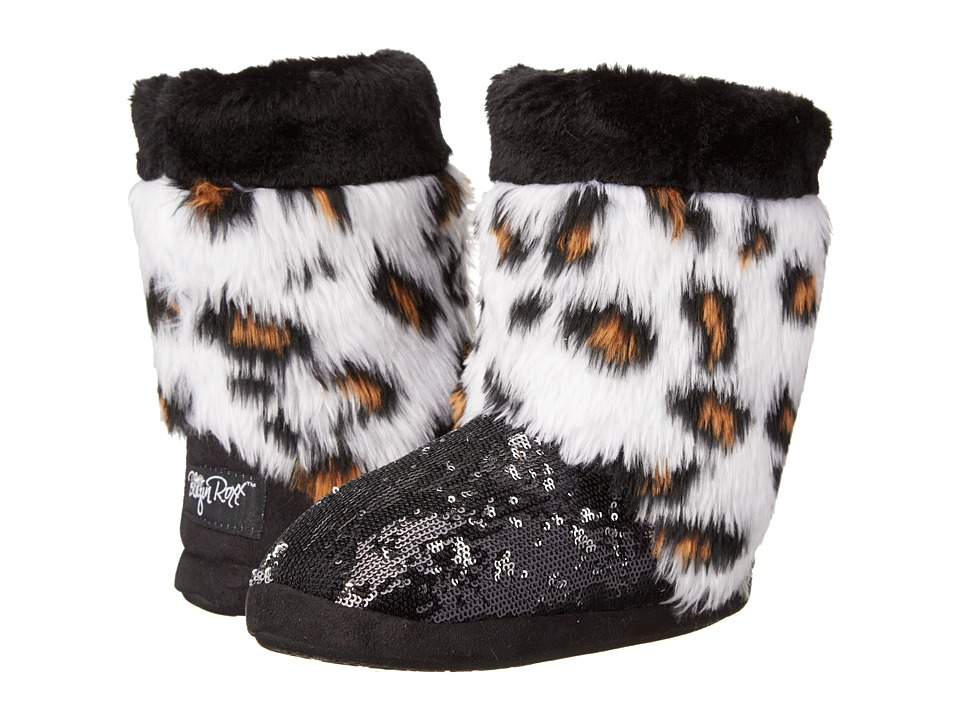 M&F Western - Furry Sequin Bootie Slippers (Toddler/Little Kid/Big Kid) (Leopard/Black) Women's Slippers