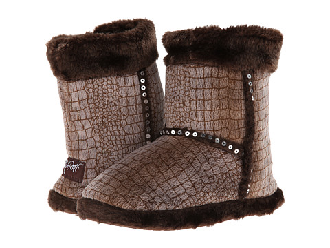 M&F Western - Plush Heart Sequin Bootie Slippers (Toddler/Little Kid/Big Kid) (Brown) Women's Slippers