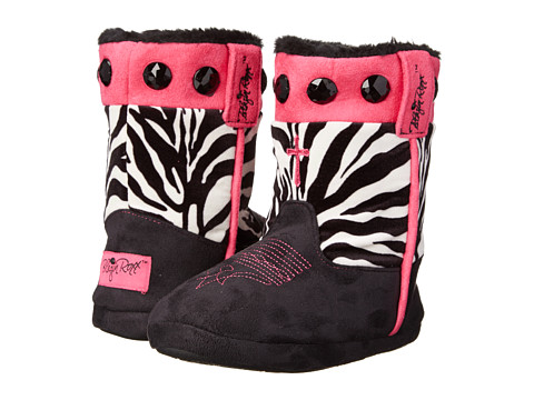 M&F Western - Animal Print w/ Cross Bootie Slippers (Toddler/Little Kid/Big Kid) (Zebra/Black/Pink) Women's Slippers