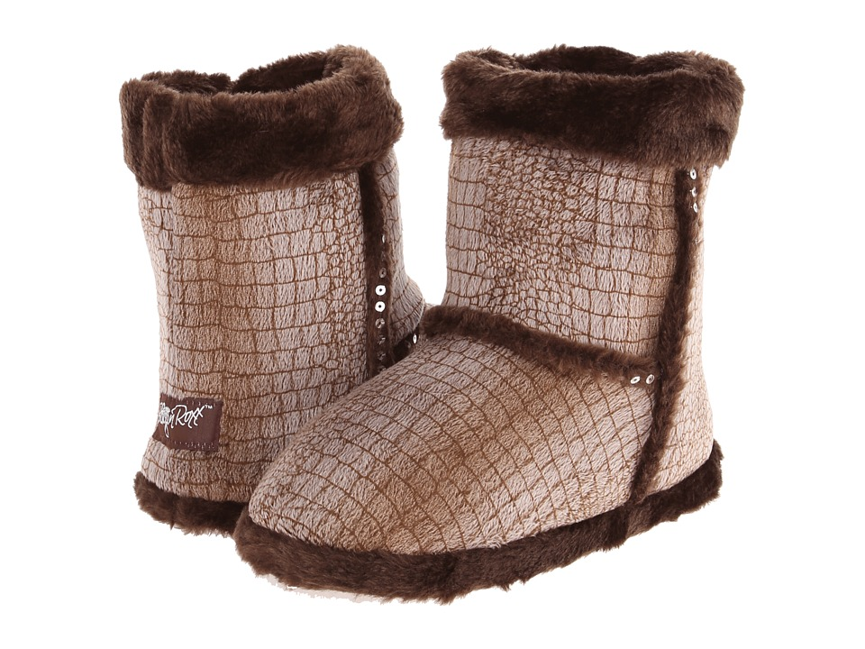M&F Western - Plush Heart Sequin Bootie Slippers (Brown) Women's Slippers