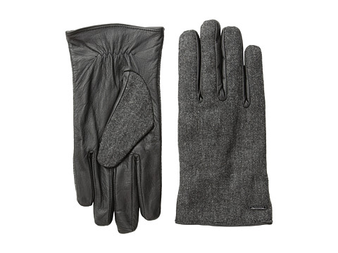 Scotch & Soda - Woolen Leather Gloves (Charcoal Melange) Wool Gloves