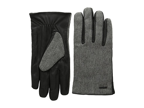 Scotch & Soda - Woolen Leather Gloves (Pirate Black Melange) Wool Gloves