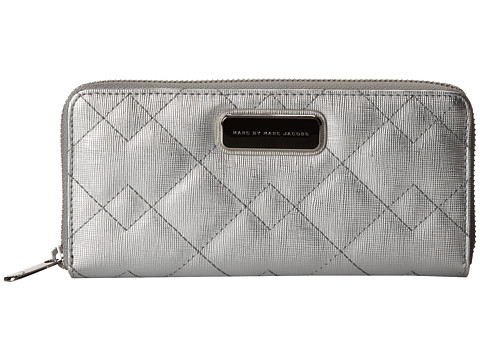 Marc by Marc Jacobs - Sophisticato Quilted Metallic Slim Zip Around (Silver) Wallet Handbags