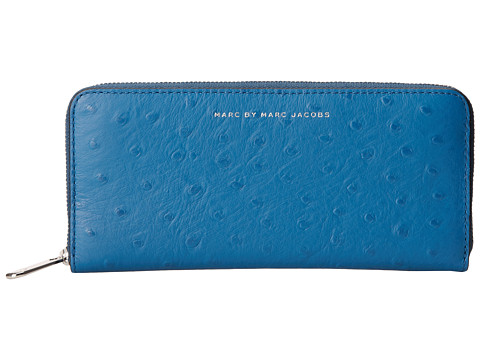 Marc by Marc Jacobs - Sophisticato Ostrich Slim Zip Around (Bluestone) Wallet Handbags