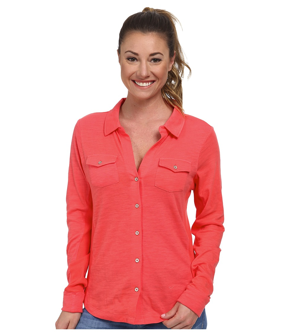 Carve Designs - Anderson Button Down (Papaya) Women's Long Sleeve Button Up