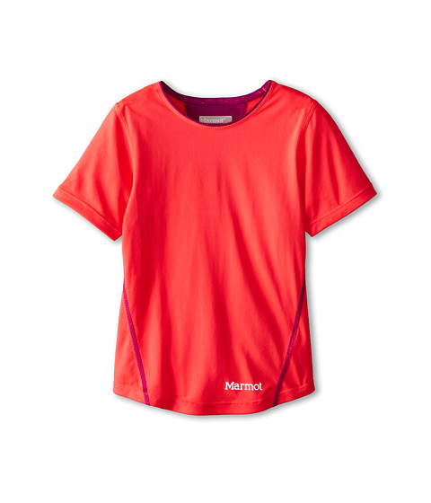 Marmot Kids - Essential S/S Top (Little Kids/Big Kids) (Bright Pink/Beet Purple) Girl