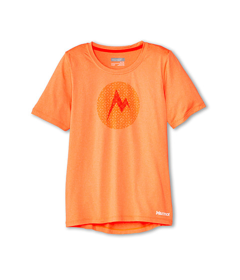 Marmot Kids - Post Time Tee S/S (Little Kids/Big Kids) (Bright Orange Heather) Girl