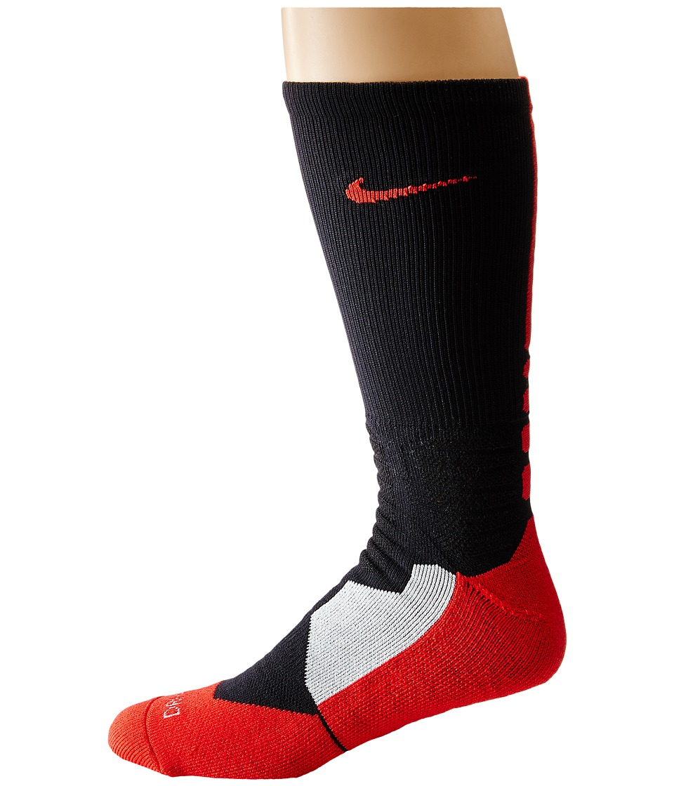 Nike - Hyperelite Basketball Crew (Black/University Red/University Red) Men's Crew Cut Socks Shoes