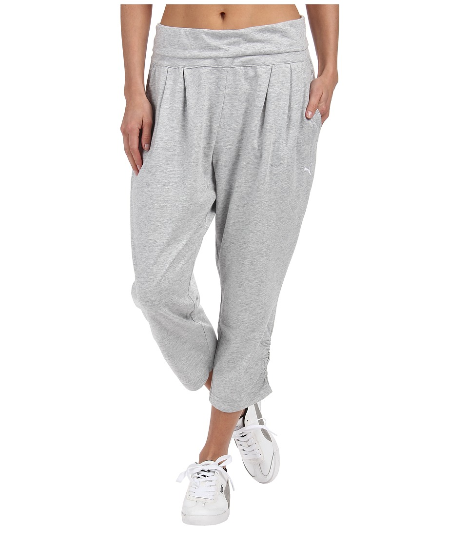 PUMA - Style 3/4 Drapy Pants (Light Gray Heather/White) Women's Workout