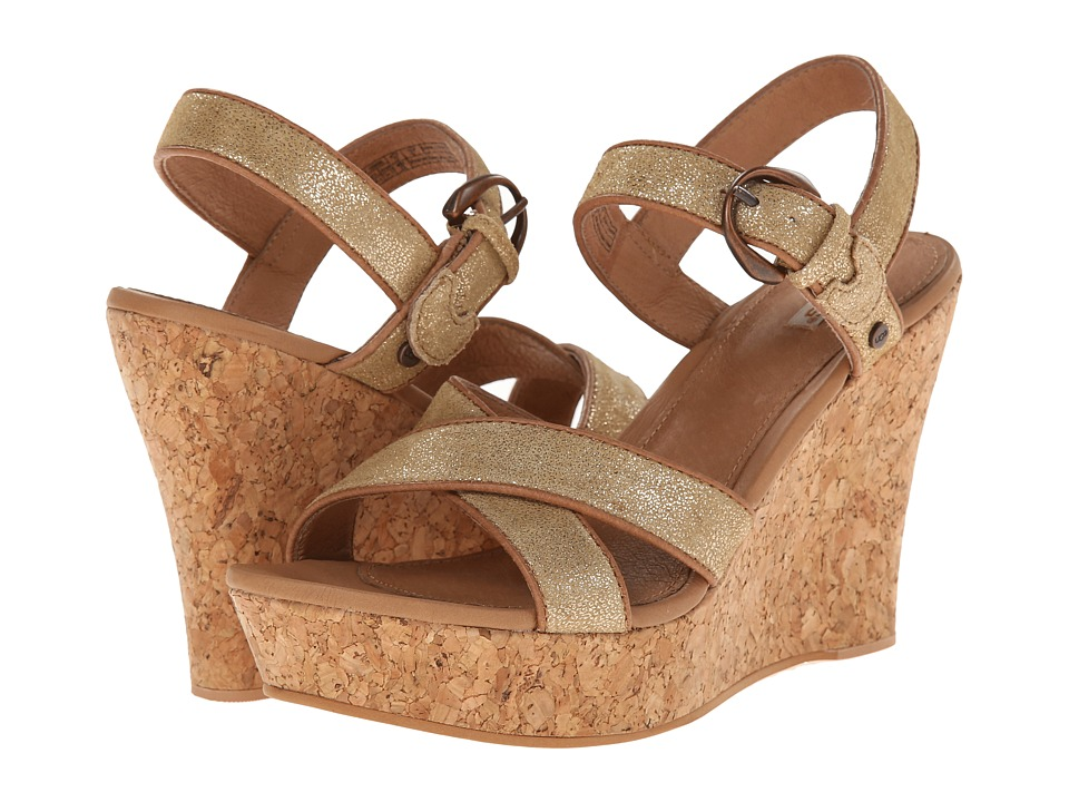 UGG - Jazmine Metallic (Chestnut Gold Coast Suede) Women's Wedge Shoes