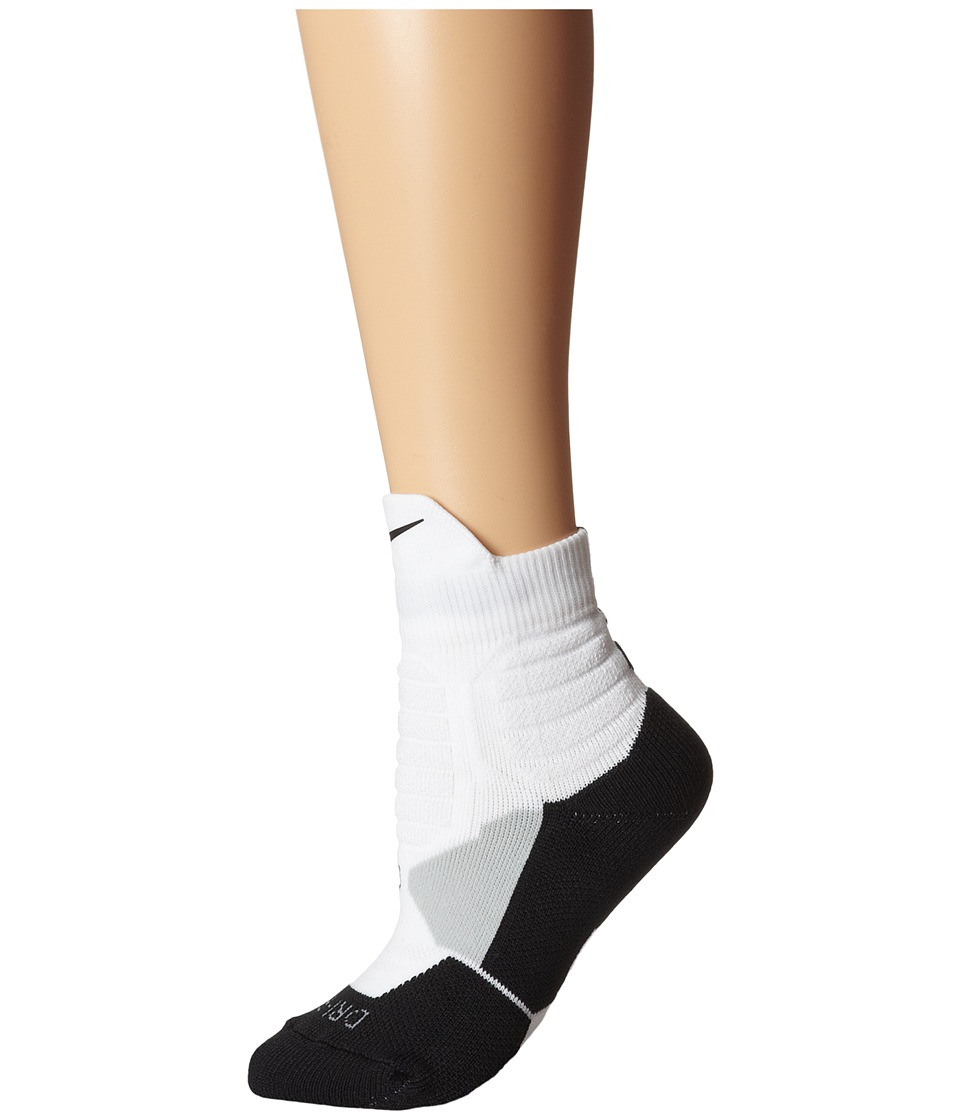 Nike - Hyperelite Basketball High Quarter (White/Black/Black/Black) Men's Quarter Length Socks Shoes
