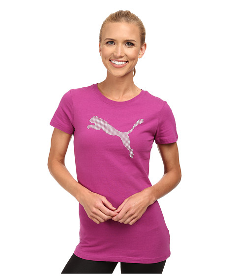 PUMA - Large Cat Tee (Vivid Viola/White) Women