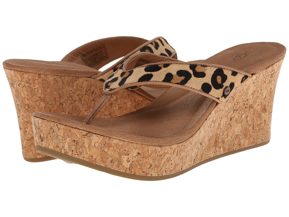 UGG - Natassia Calf Hair Leopard (Chestnut Leopard Calf Hair) Women's Wedge Shoes