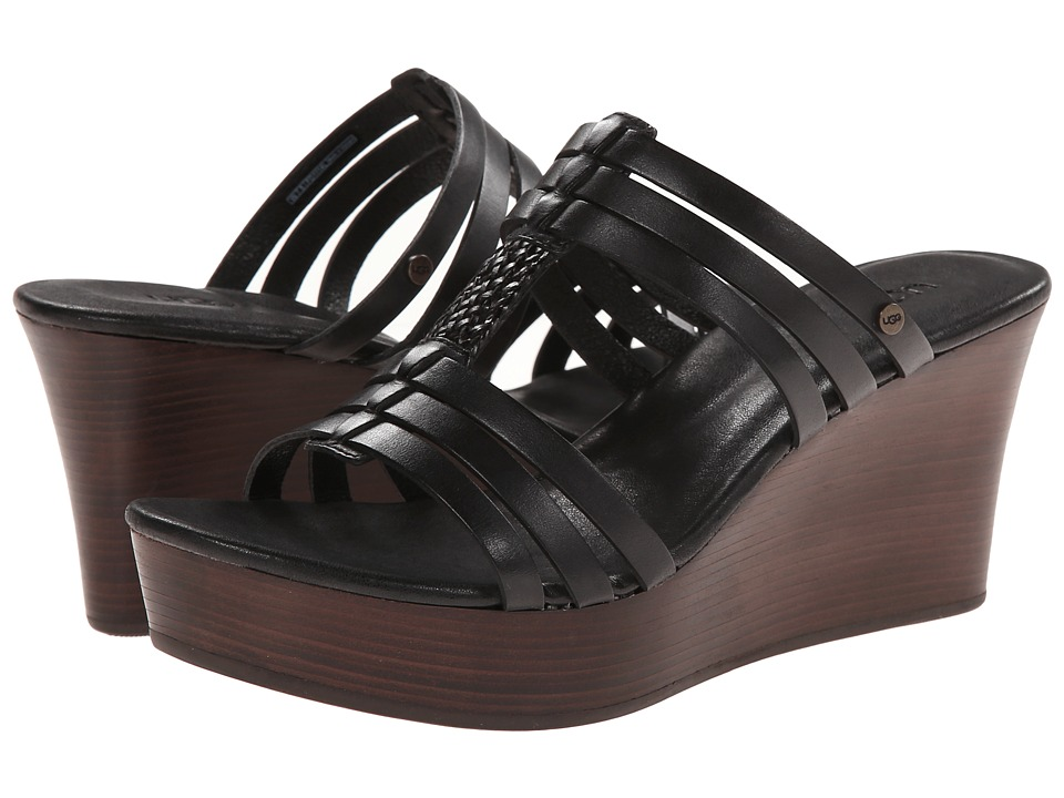 UGG - Mattie (Black Leather) Women's Wedge Shoes