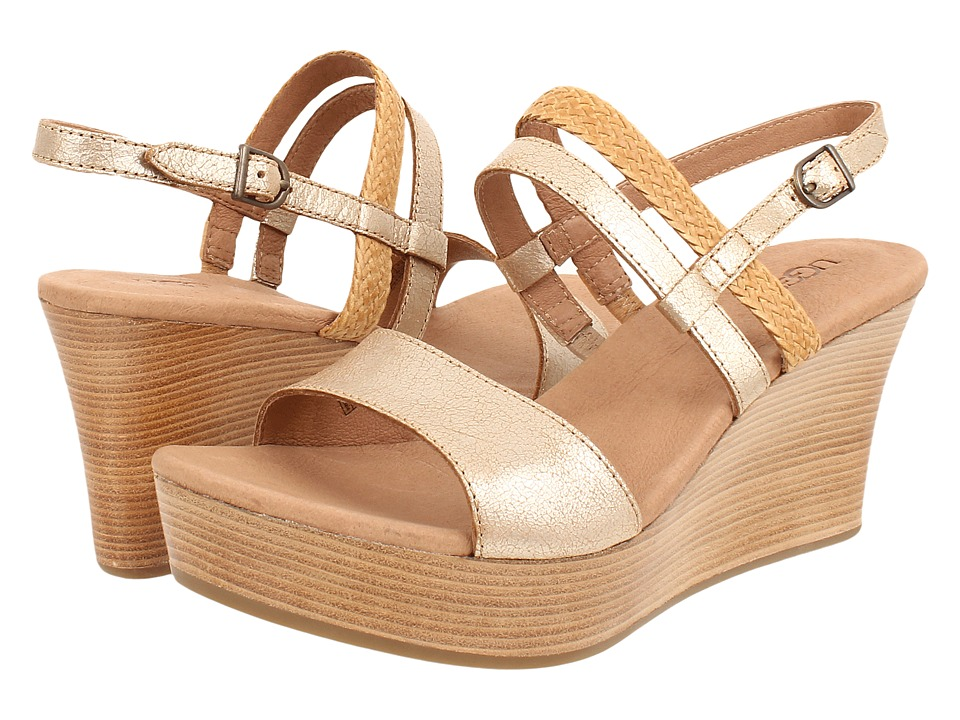 UGG - Lira (Gold Washed Leather) Women's Wedge Shoes