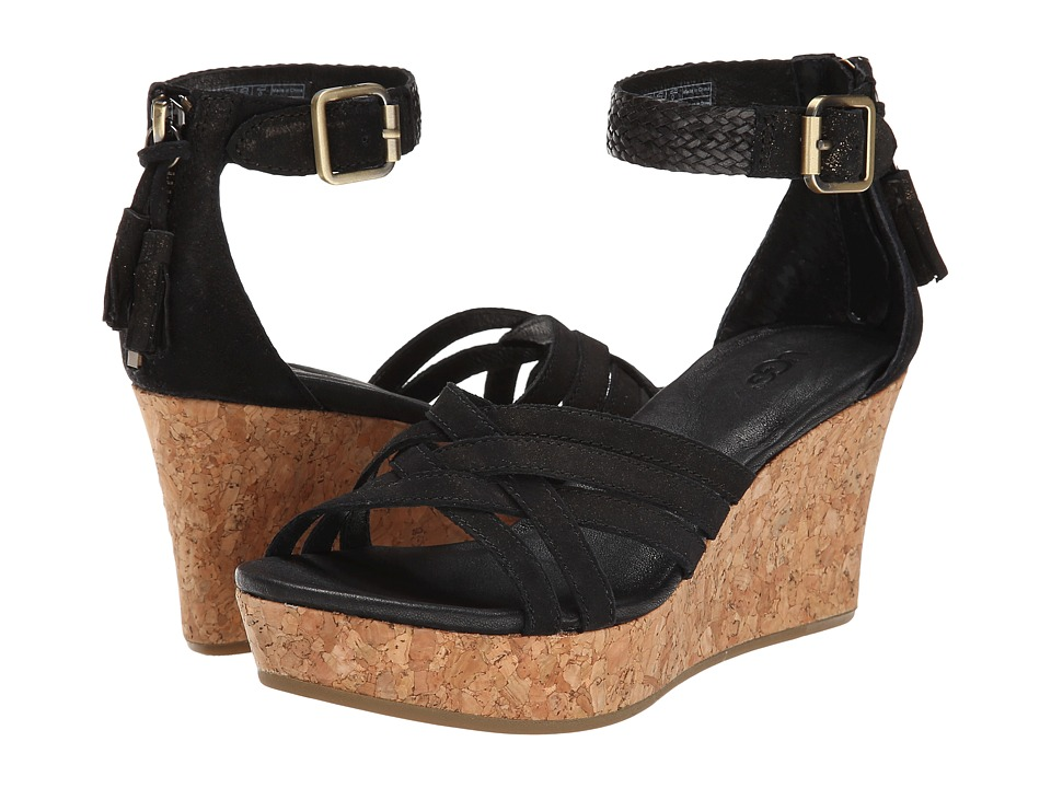 UGG - Lillie (Black Leather) Women's Wedge Shoes