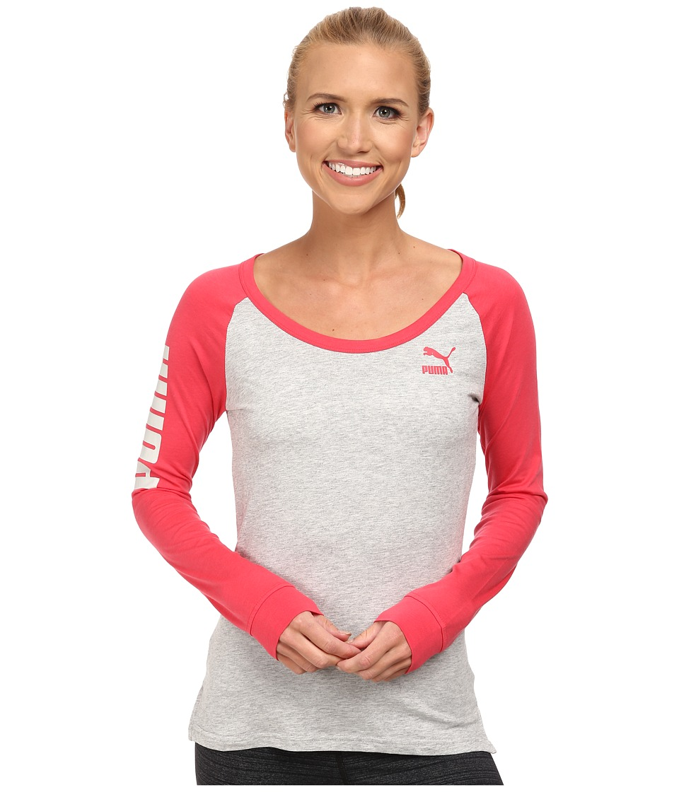 PUMA - Long Sleeve Tee (Light Gray Heather/Geranium) Women's T Shirt
