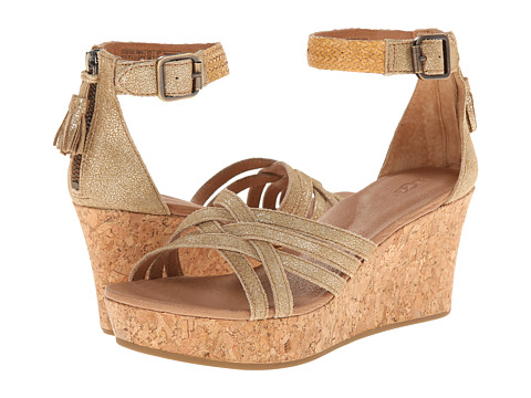 UGG - Lillie Metallic (Chestnut Gold Coast Suede) Women's Wedge Shoes
