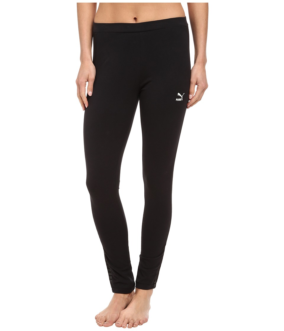 PUMA - Mesh Detail Leggings (Black) Women's Casual Pants