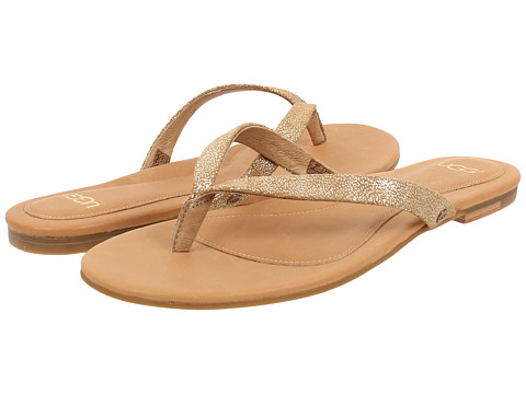 UGG - Allaria II Metallic (Chestnut Gold Coast Suede) Women's Sandals