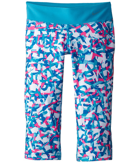 Nike Kids - YA Legend Tight AOP Capri (Little Kids/Big Kids) (Blue Lagoon/Blue Lagoon/Cool Grey) Girl