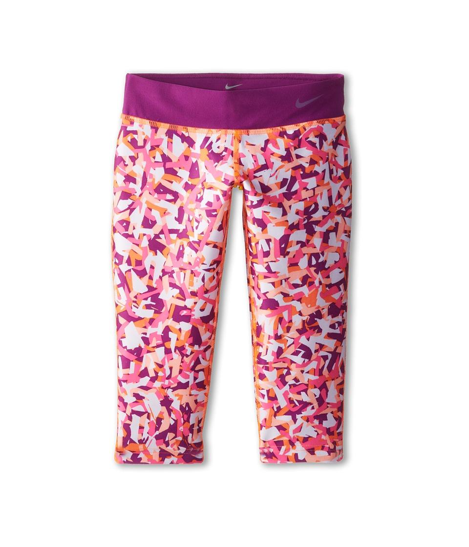 Nike Kids - YA Legend Tight AOP Capri (Little Kids/Big Kids) (Total Orange/Bold Berry/Cool Grey) Girl's Capri