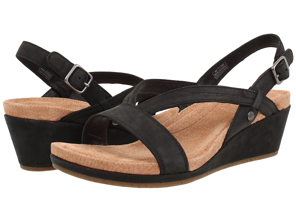 UGG - Kenley (Black Nubuck) Women's Wedge Shoes