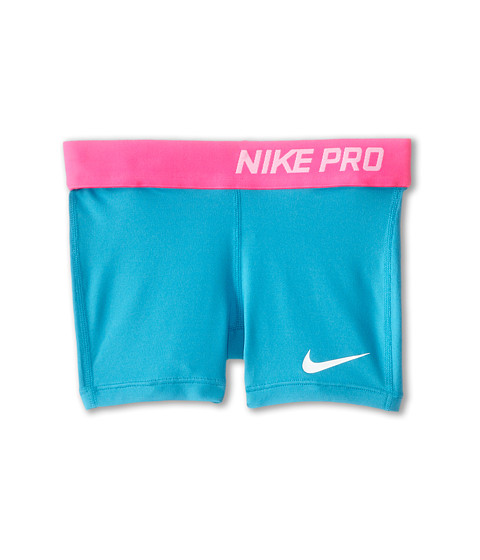 Nike Kids - Pro Short (Little Kids/Big Kids) (Blue Lagoon/Pink Pow/White) Girl
