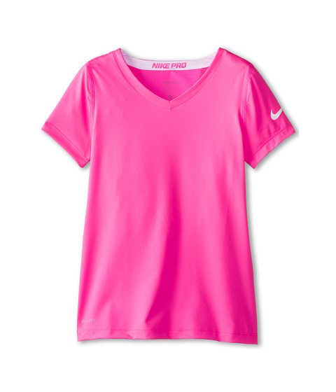 Nike Kids - Pro S/S Top (Little Kids/Big Kids) (Pink Pow/Pink Pow/White/White) Girl's Short Sleeve Pullover