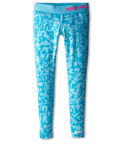 Nike Kids - Pro AOP Tight (Little Kids/Big Kids) (Blue Lagoon/Pink Pow/White) Girl