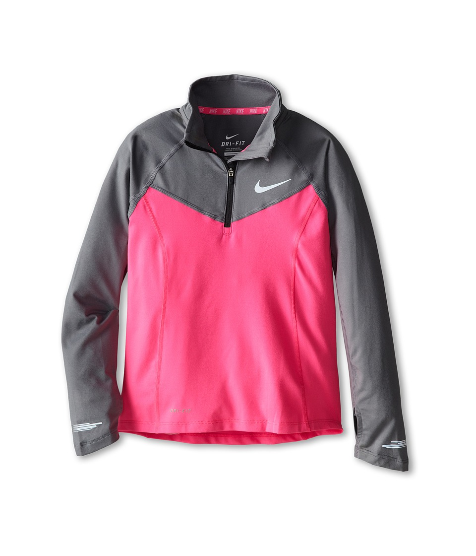 Nike Kids - Element 1/2 Zip L/S Top (Little Kids/Big Kids) (Pink Pow/Cool Grey/Reflective Silver) Girl's Long Sleeve Pullover