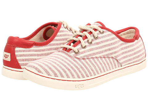 UGG - Eyan II Stripe (Red/Cotton/Leather) Women