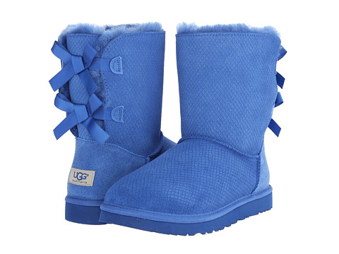 UGG - Bailey Bow Exotic Scales (Marine Blue Suede) Women