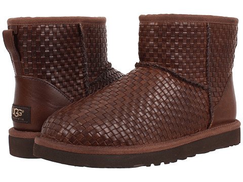 UGG - Classic Mini Woven (Cognac Leather) Women's Pull-on Boots