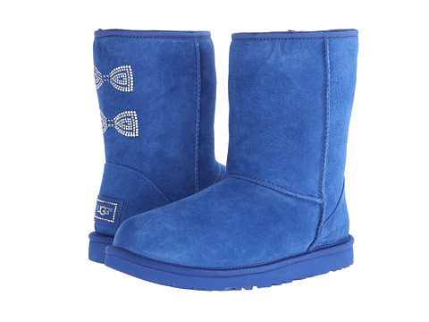 UGG - Classic Short Crystal Bow (Marine Blue/Suede/Swarovski Crystals) Women's Boots