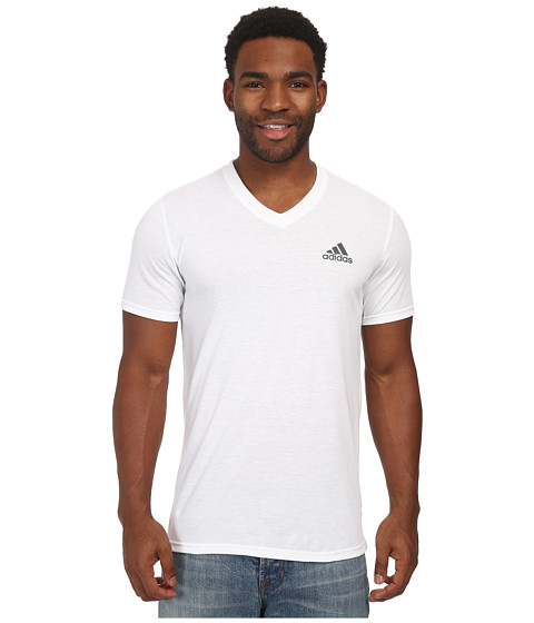 adidas - Ultimate S/S V-Neck Tee (White/DHG Solid Grey) Men's T Shirt