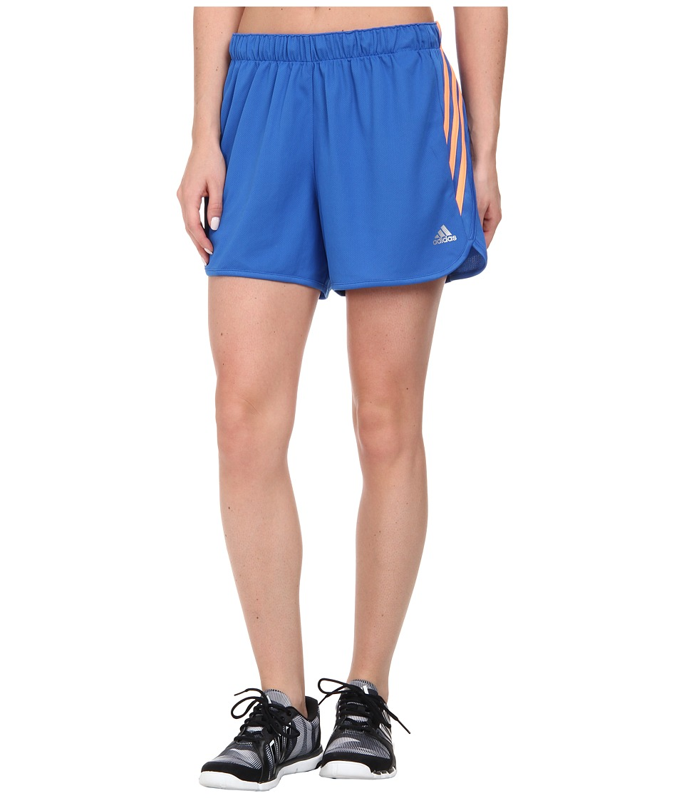 adidas - Ultimate 3-Stripes Knit Short (Bright Royal/Brigh Royal/Flash Orange) Women's Shorts