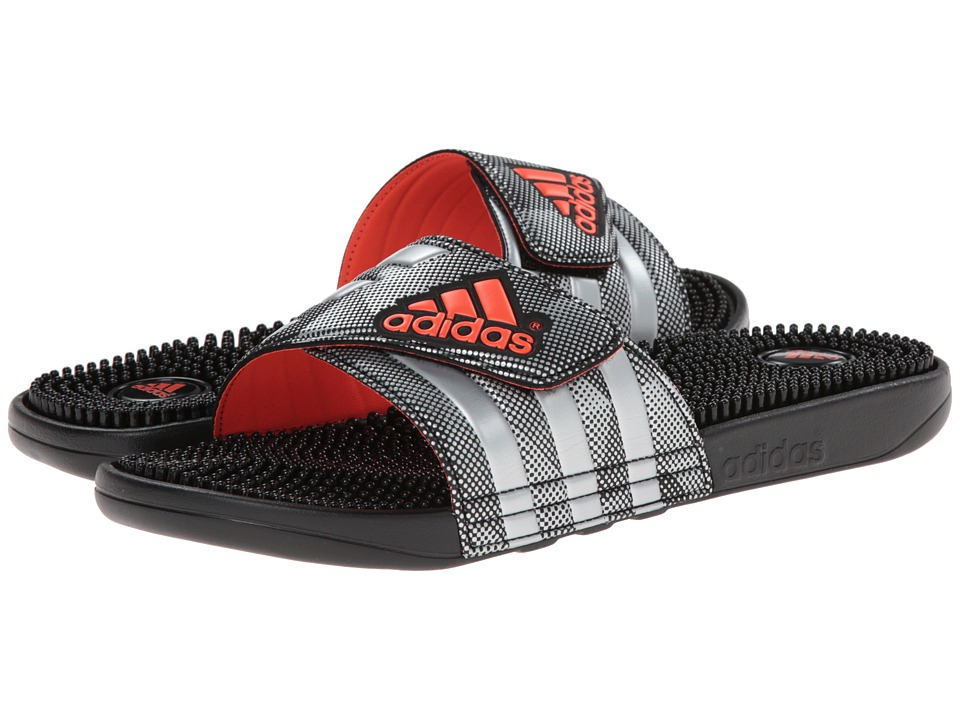adidas - adissage (Silver Metallic/Solar Red) Men's Slide Shoes