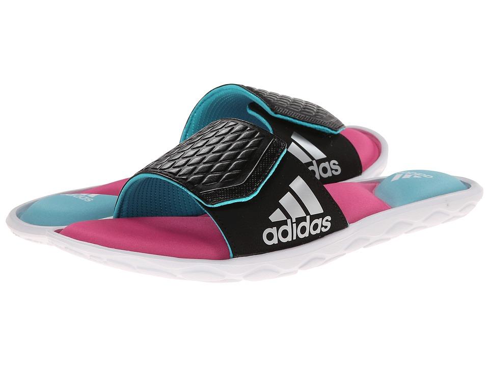 adidas - Anyanda Flex Slide (Black/Silver Metallic/Vivid Mint) Women